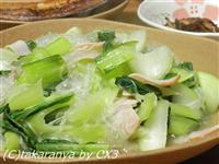 青梗菜とハムと春雨の炒め物